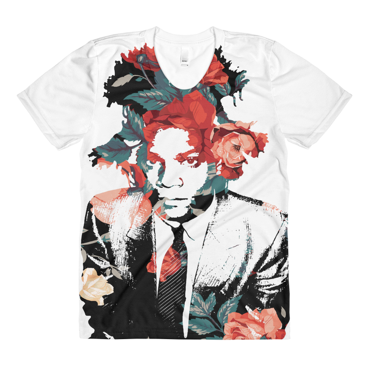 Basquiat Floral Roses All-Over-Print Ladies Crew T-shirt - Devious Elements Apparel