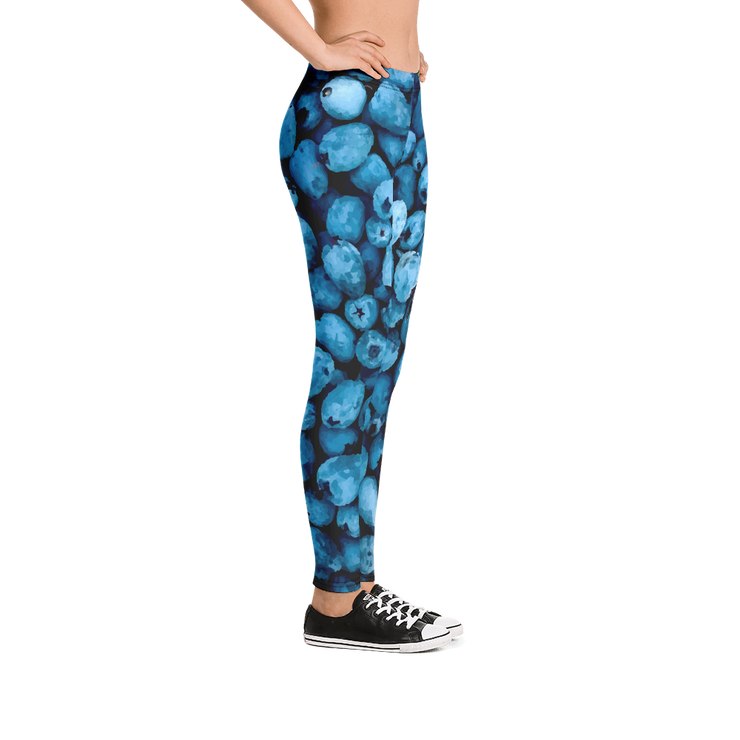 Blue Berries Print Leggings - Devious Elements Apparel