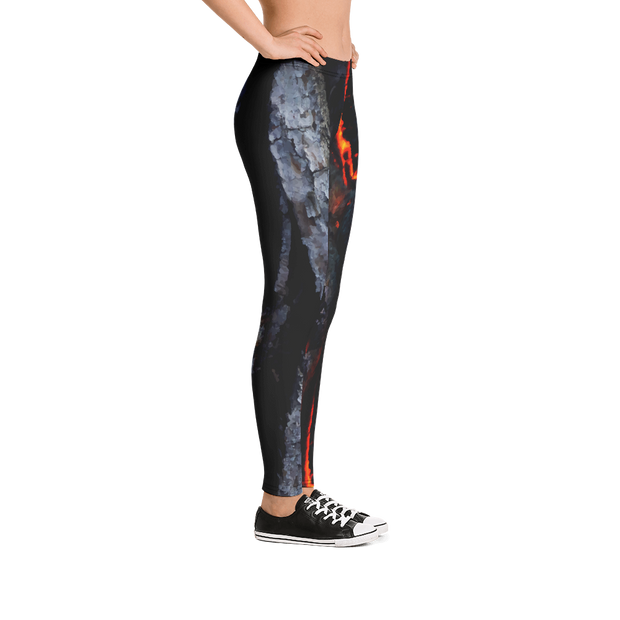 Burning Wood Embers Print Leggings - Devious Elements Apparel
