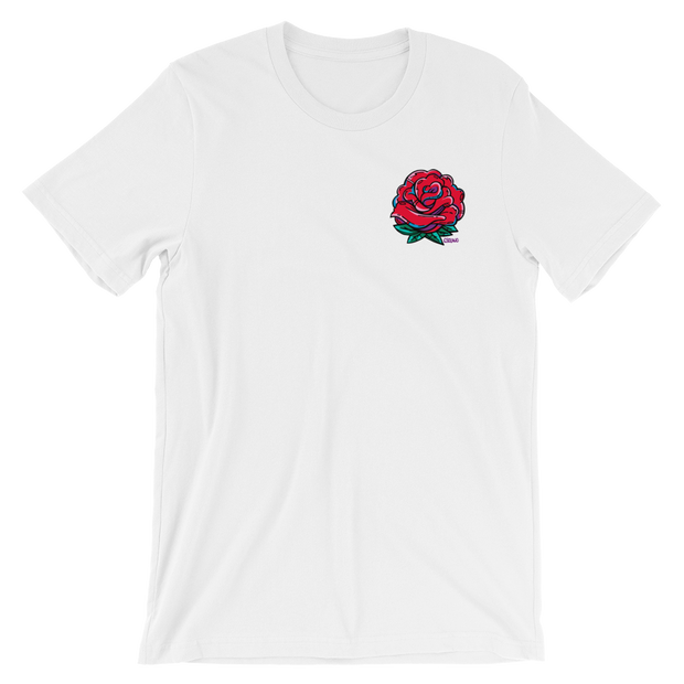 Rose Bud Pocket Unisex Crew T-Shirt Carlos Solano Shirt Rose Bud Pocket Unisex Crew T-Shirt Rose Bud Pocket Unisex Crew T-Shirt - Devious Elements Apparel