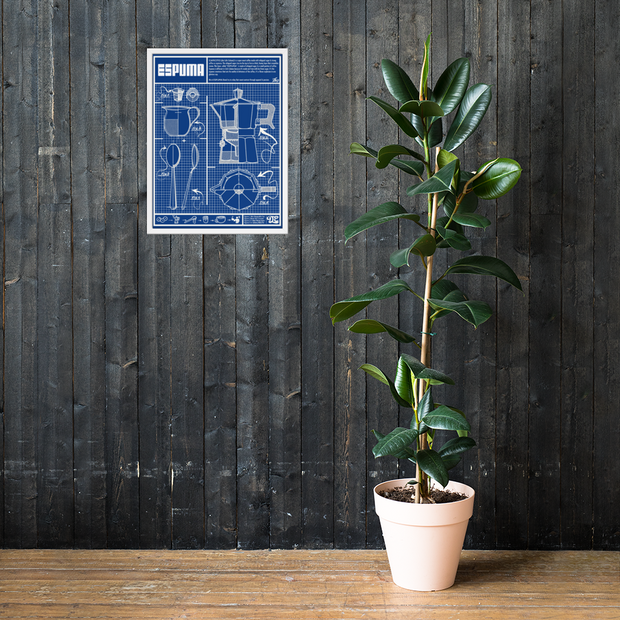 Cafecito Blueprint OG Premium Luster Photo Paper Framed Poster