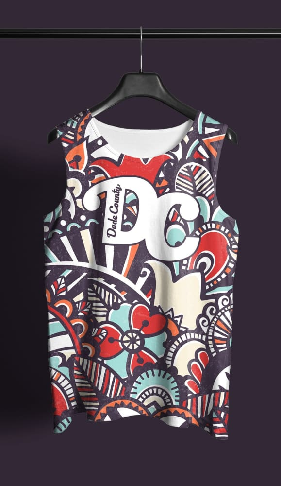 Hialeah City Floral Throw Back All Over Print Tank - Devious Elements Apparel
