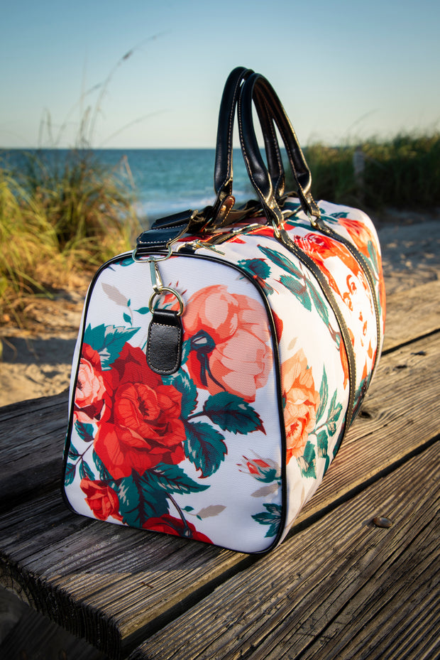 Frida Floral Rose Canvas Waterproof Large Travel Bag