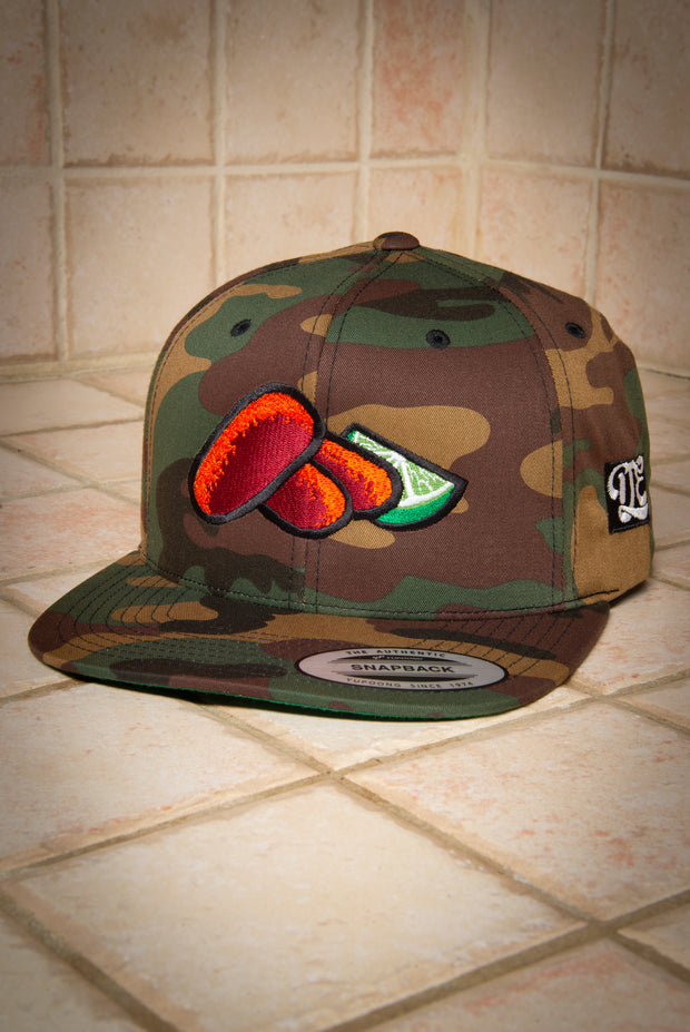 Croquetas & Lime High Profile Camo Snapback Hat ESPUMA hat Croquetas & Lime High Profile Camo Snapback Hat Croquetas & Lime High Profile Camo Snapback Hat - Devious Elements Apparel