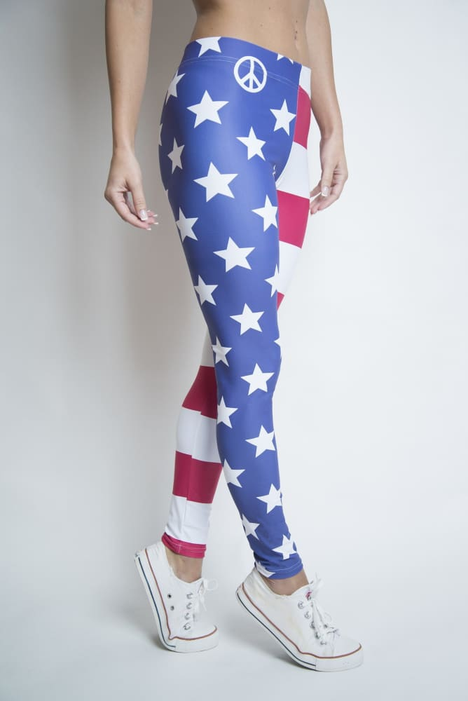 Loyalty Stars & Stripes Peace Flag Leggings - Devious Elements Apparel