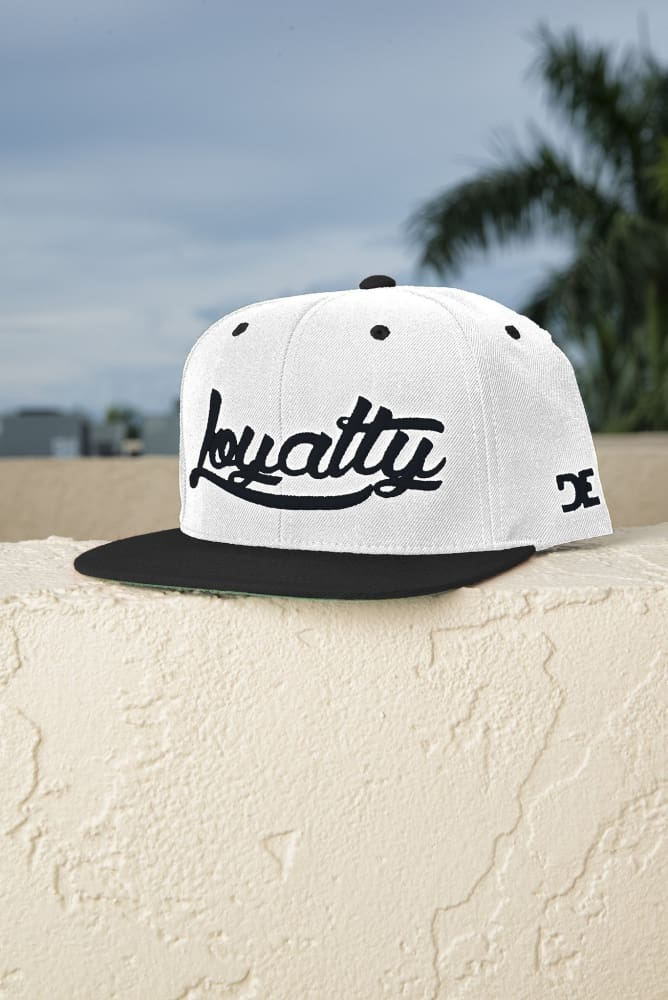 Loyalty Classic Black & White Snapback Hat Loyalty hat Loyalty Classic Black & White Snapback Hat Loyalty Classic Black & White Snapback Hat - Devious Elements Apparel