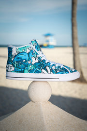 Tropicana Print Ladies Canvas High Top Sneaker Enox Art shoes Tropicana Print Ladies Canvas High Top Sneaker Tropicana Print Ladies Canvas High Top Sneaker - Devious Elements Apparel
