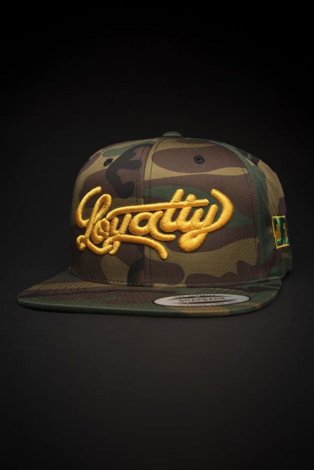 Loyalty Stunner Camo Gold Snapback Hat - Devious Elements Apparel