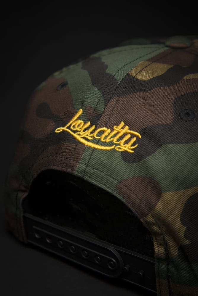 Loyalty Stunner Camo Gold Snapback Hat Loyalty hat Loyalty Stunner Camo Gold Snapback Hat Loyalty Stunner Camo Gold Snapback Hat - Devious Elements Apparel