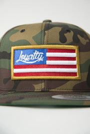 Loyalty Flag Gold Camo Snapback Loyalty hat Loyalty Flag Gold Camo Snapback Loyalty Flag Gold Camo Snapback - Devious Elements Apparel