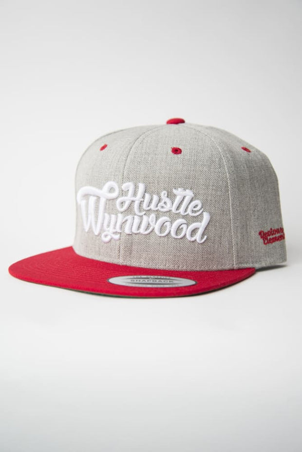Hustle Wynwood Graffiti Heather Grey Red Snapback Hat - Devious Elements Apparel