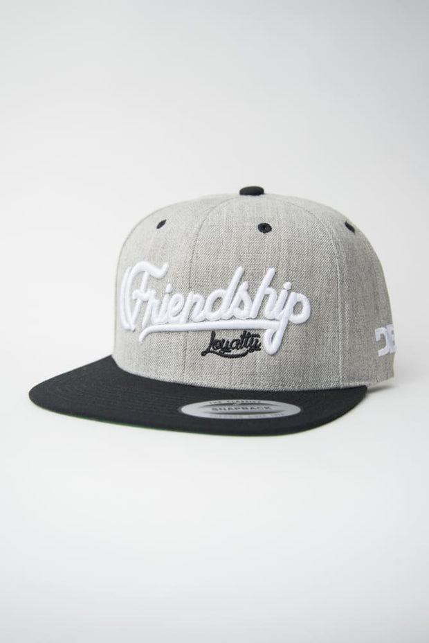 Loyalty Friendship Heather Grey & Black Snapback Hat Loyalty hat Loyalty Friendship Heather Grey & Black Snapback Hat Loyalty Friendship Heather Grey & Black Snapback Hat - Devious Elements Apparel