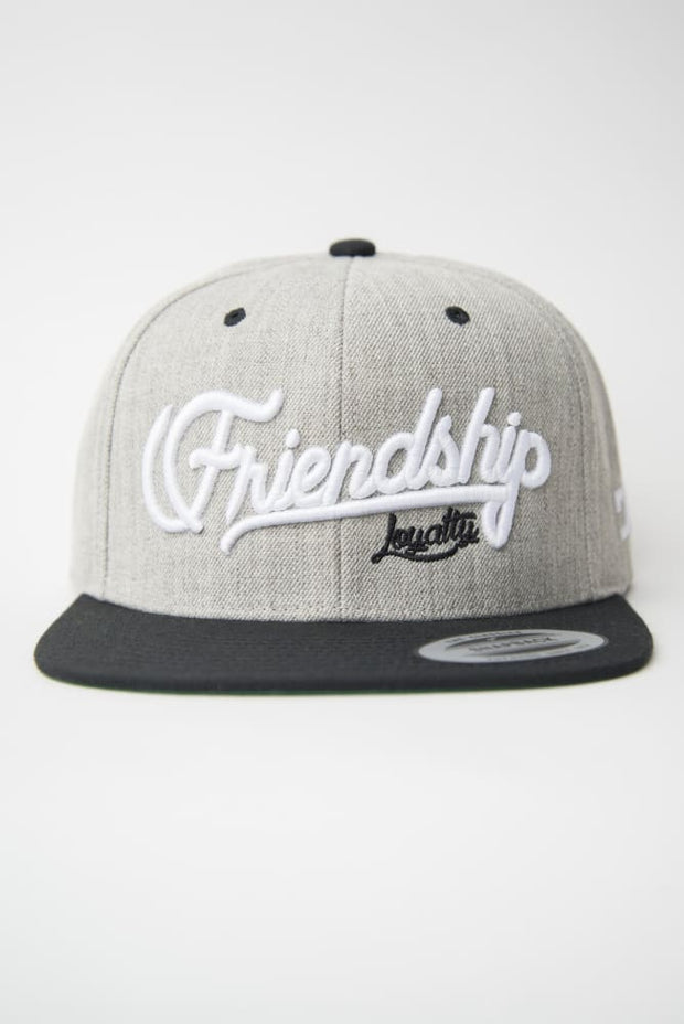 Loyalty Friendship Heather Grey & Black Snapback Hat - Devious Elements Apparel