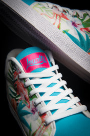 Loyalty Flamingo Watercolor Canvas Mid Top Ladies Sneaker