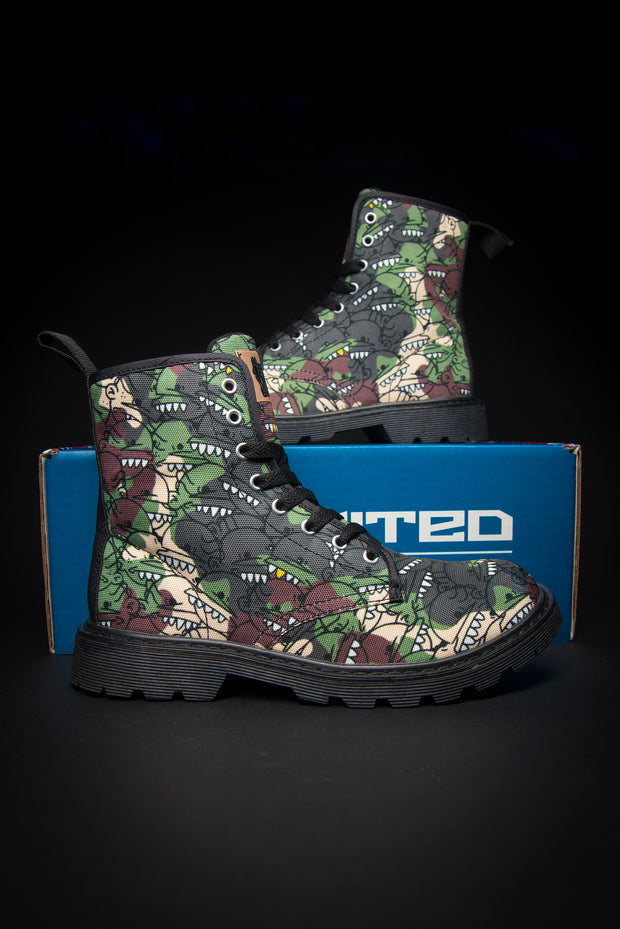 Goop Heads Camo Pattern Canvas Men's Boots Goopmassta shoes Goop Heads Camo Pattern Canvas Men's Boots Goop Heads Camo Pattern Canvas Men's Boots - Devious Elements Apparel