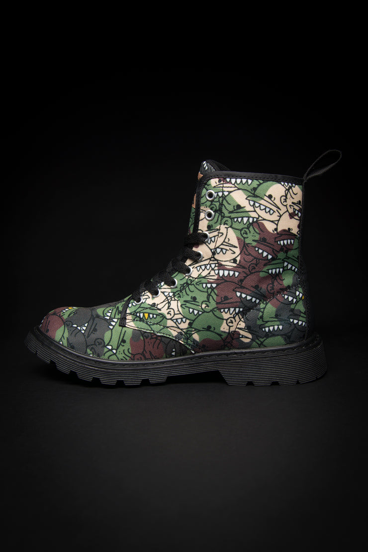 Goop Heads Camo Pattern Canvas Men's Boots