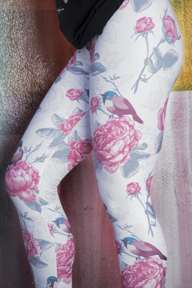 Floral Rose Blue Bird Pattern Leggings - Devious Elements Apparel