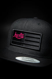 Loyalty Flag Black & Black 3D Partial Snapback Loyalty hat Loyalty Flag Black & Black 3D Partial Snapback Loyalty Flag Black & Black 3D Partial Snapback - Devious Elements Apparel