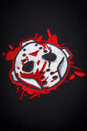 Voorhees Blood Mask Chest Embroidery Unisex Crew T-shirt - Devious Elements Apparel