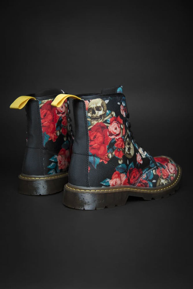 Rose & Skull Pattern Canvas Mens Boot Devious Elements Apparel shoes Rose & Skull Pattern Canvas Mens Boot Rose & Skull Pattern Canvas Mens Boot - Devious Elements Apparel