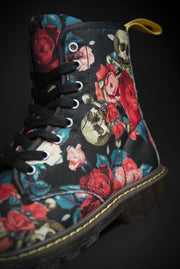 Rose & Skull Pattern Canvas Mens Boot - Devious Elements Apparel