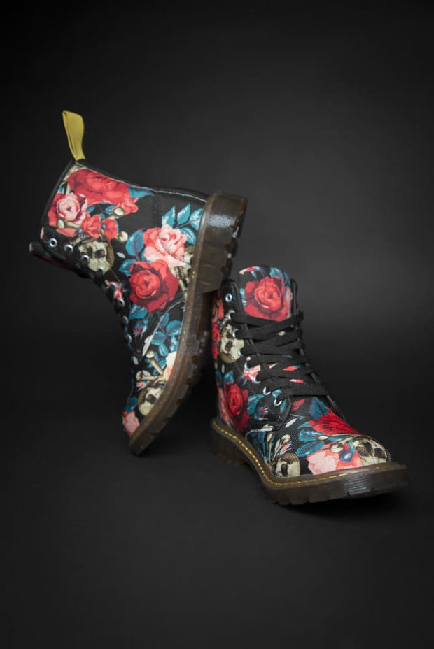 Rose & Skull Pattern Canvas Ladies Boot - Devious Elements Apparel