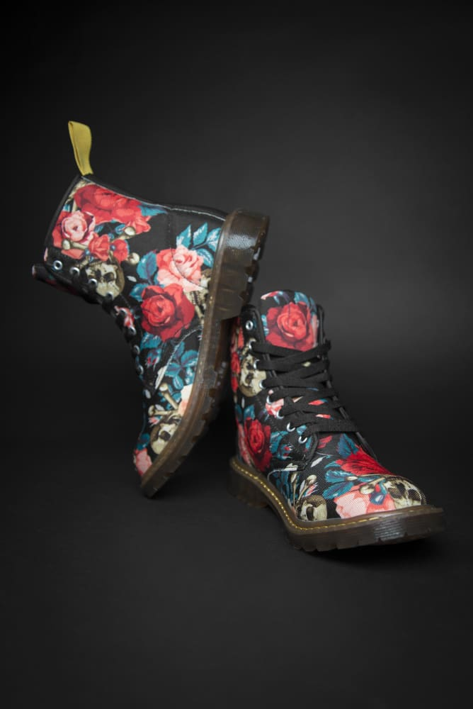 Rose & Skull Pattern Canvas Ladies Boot Devious Elements Apparel shoes Rose & Skull Pattern Canvas Ladies Boot Rose & Skull Pattern Canvas Ladies Boot - Devious Elements Apparel