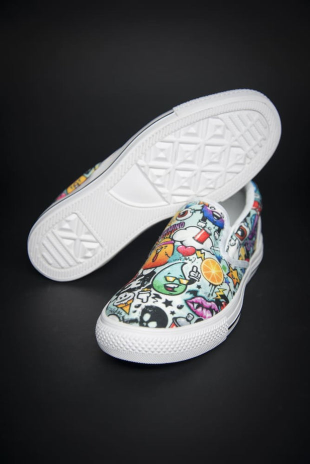 DE Graffiti Print Canvas Ladies Slip On Low-Top - Devious Elements Apparel