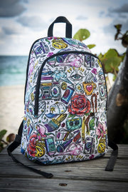 Funky Culture Pattern Print Laptop Backpack - Devious Elements Apparel