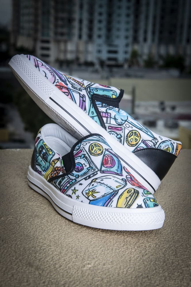 Funky Culture Pattern Men's Canvas Slide On Sneaker - Devious Elements Apparel