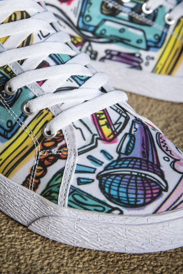 Funky Culture Pattern Canvas Mid Top Ladies Sneaker - Devious Elements Apparel