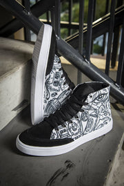 Funky Culture Print Canvas Hi-Top Men's Sneakers - Devious Elements Apparel