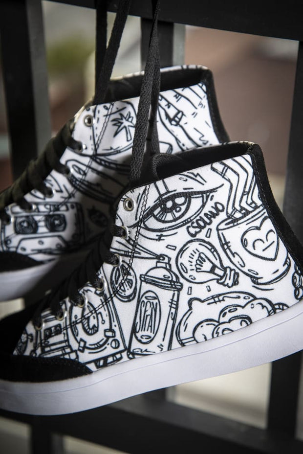 Funky Culture Print Canvas Hi-Top Men's Sneakers Carlos Solano shoes Funky Culture Print Canvas Hi-Top Men's Sneakers Funky Culture Print Canvas Hi-Top Men's Sneakers - Devious Elements Apparel