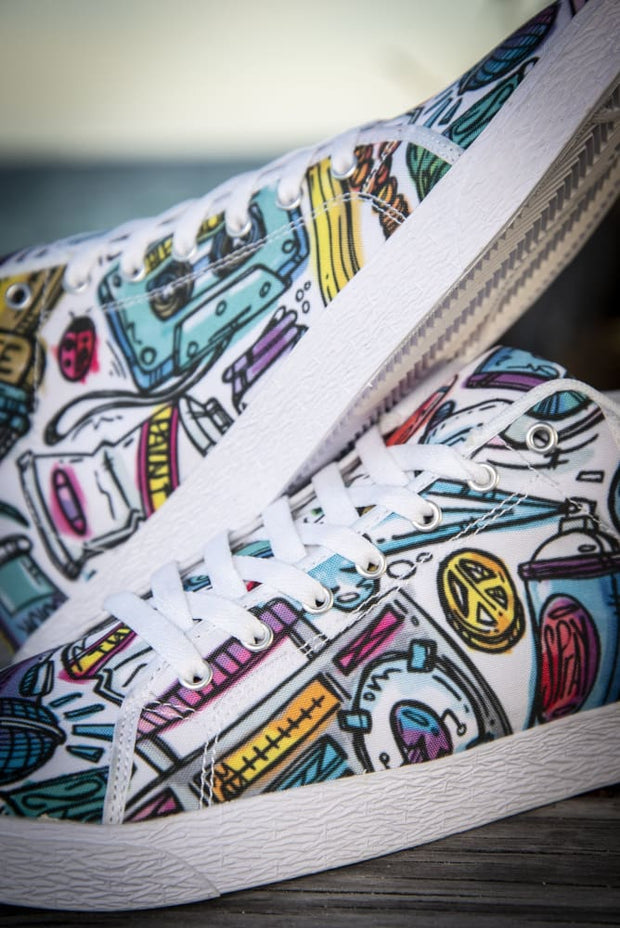 Funky Culture Pattern Canvas Mid Top Men's Sneaker Carlos Solano shoes Funky Culture Pattern Canvas Mid Top Men's Sneaker Funky Culture Pattern Canvas Mid Top Men's Sneaker - Devious Elements Apparel