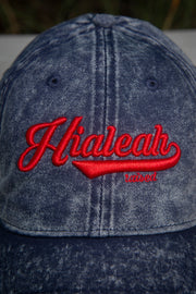 Hialeah Raised Vintage Dad Hat Blue Red
