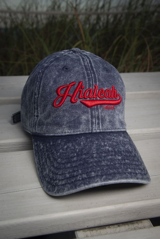 Hialeah Raised Vintage Dad Hat Blue Red Hialeah Raised hat Hialeah Raised Vintage Dad Hat Blue Red Hialeah Raised Vintage Dad Hat Blue Red - Devious Elements Apparel
