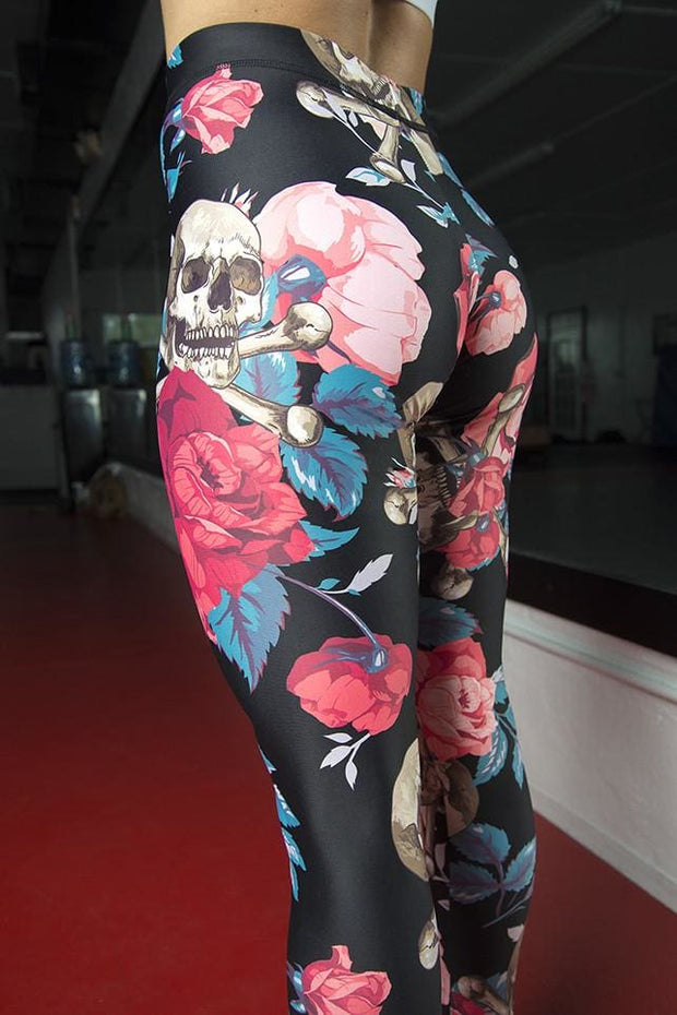 Roses & Cross Bones Pattern Legging - Devious Elements Apparel