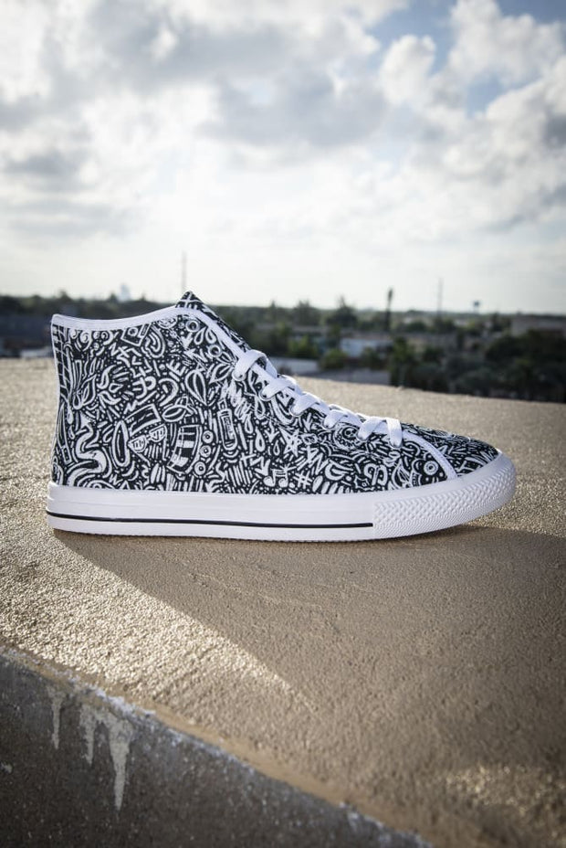 Devious Doodle Print Men's Canvas High Top Sneaker Devious Elements Apparel shoes Devious Doodle Print Men's Canvas High Top Sneaker Devious Doodle Print Men's Canvas High Top Sneaker - Devious Elements Apparel