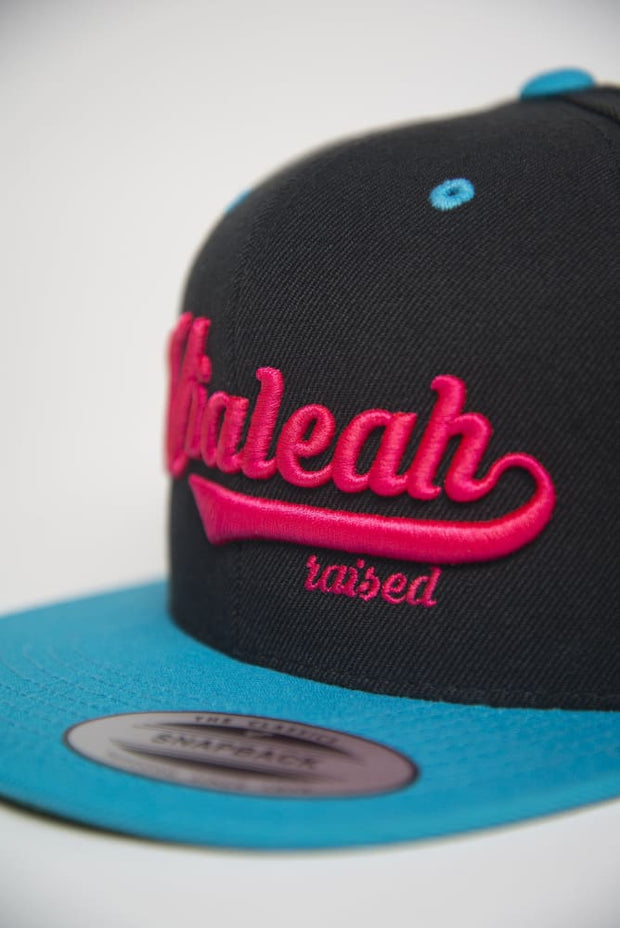 Hialeah Raised Teal Pink Snapback - Devious Elements Apparel