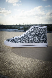 Devious Doodle Print Ladies Canvas High Top Sneaker Devious Elements Apparel shoes Devious Doodle Print Ladies Canvas High Top Sneaker Devious Doodle Print Ladies Canvas High Top Sneaker - Devious Elements Apparel