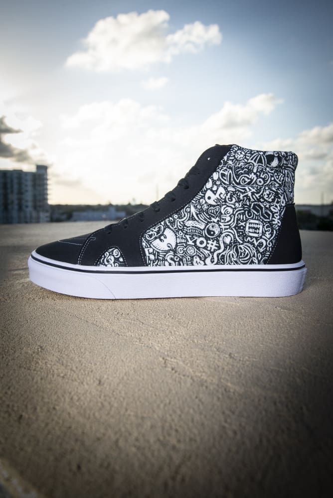 Devious Doodle Print Men's High Top Skate Sneaker - Devious Elements Apparel