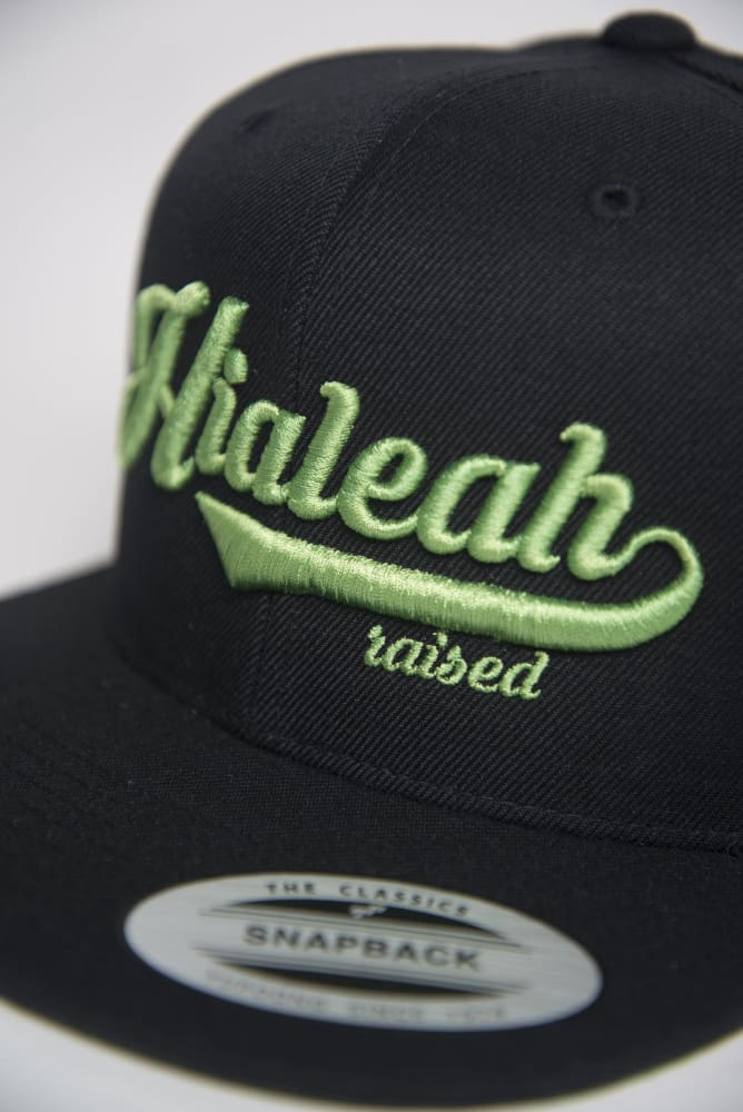 Hialeah Raised Black & Lime Green Snapback Hialeah Raised hat Hialeah Raised Black & Lime Green Snapback Hialeah Raised Black & Lime Green Snapback - Devious Elements Apparel