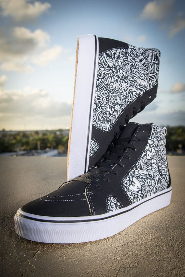 Devious Doodle Print Ladies High Top Skate Sneaker Devious Elements Apparel shoes Devious Doodle Print Ladies High Top Skate Sneaker Devious Doodle Print Ladies High Top Skate Sneaker - Devious Elements Apparel
