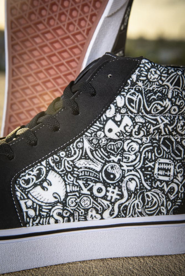 Devious Doodle Print Men's High Top Skate Sneaker Devious Elements Apparel shoes Devious Doodle Print Men's High Top Skate Sneaker Devious Doodle Print Men's High Top Skate Sneaker - Devious Elements Apparel
