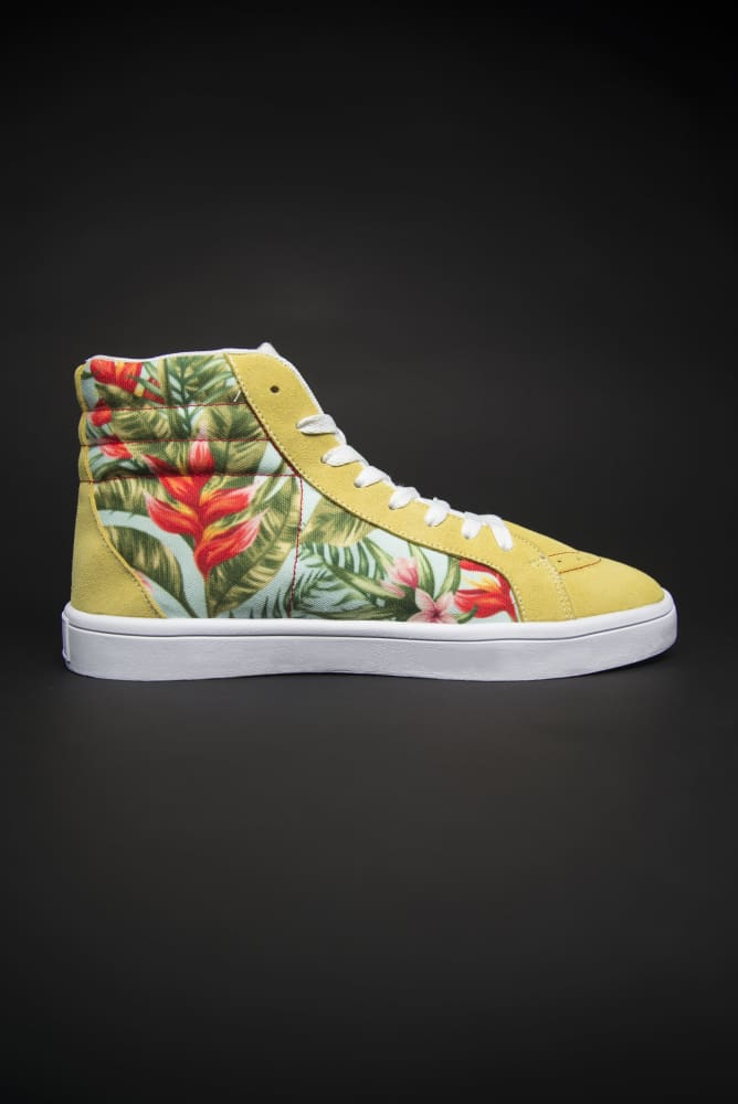 Tropic Vibes Print Canvas Hi-Top Men's Sneakers - Devious Elements Apparel