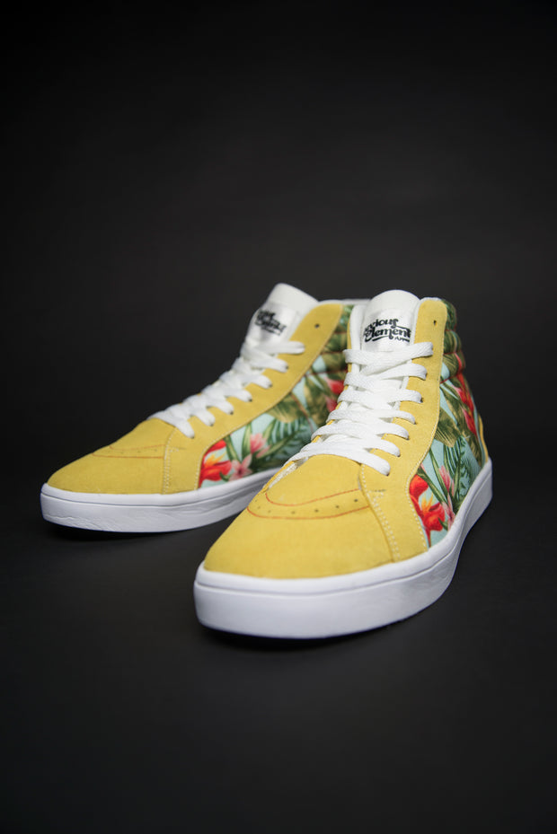 Tropic Vibes Print Canvas Hi-Top Men's Sneakers