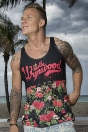 Hustle Wynwood Roses & Lillies All-Over-Print Black Tank - Devious Elements Apparel