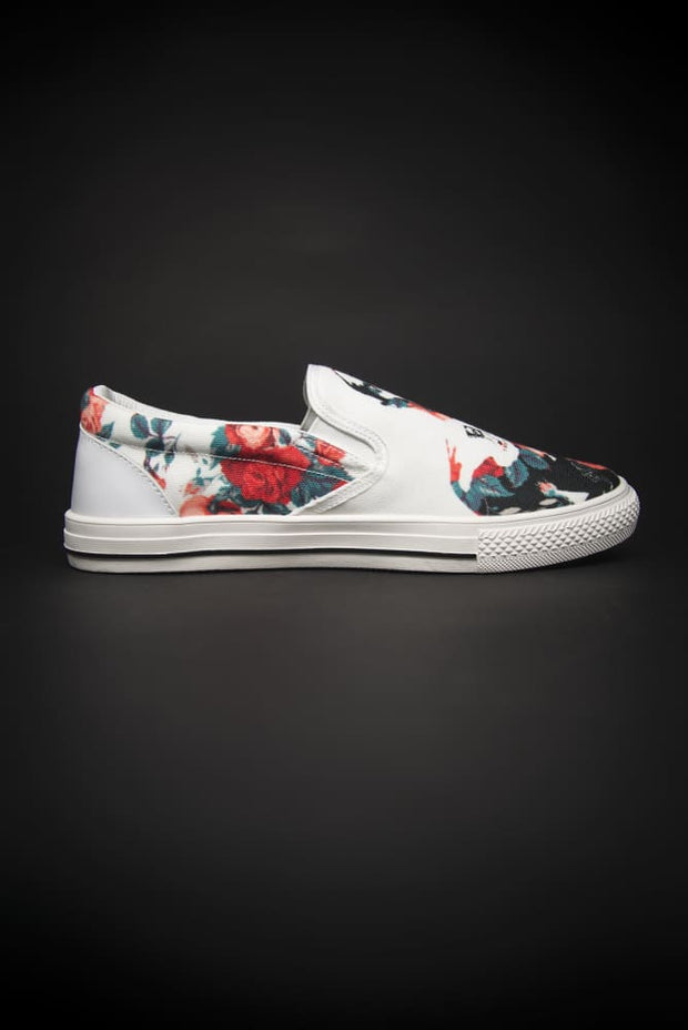 Tupac Floral Print Canvas Ladies Slip On Low-Top - Devious Elements Apparel
