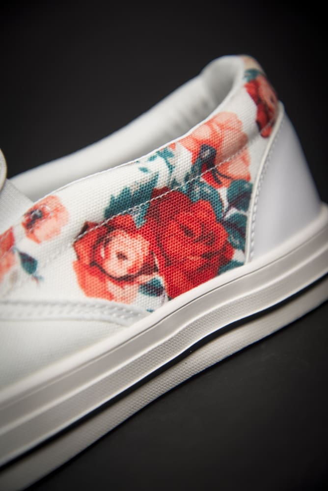 Basquiat Floral Print Canvas Men's Slip On Low-Top - Devious Elements Apparel