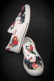 Tupac Floral Print Canvas Men's Slip On Low-Top - Devious Elements Apparel